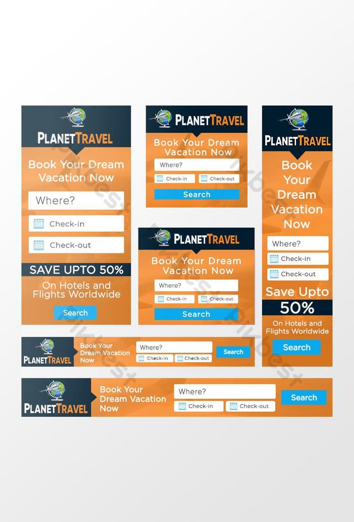 Html banner ads are a simple and effective way of promoting yourself or your business on the web. Travel Web Banner Design Template Google Ads Psd Free Download Pikbest