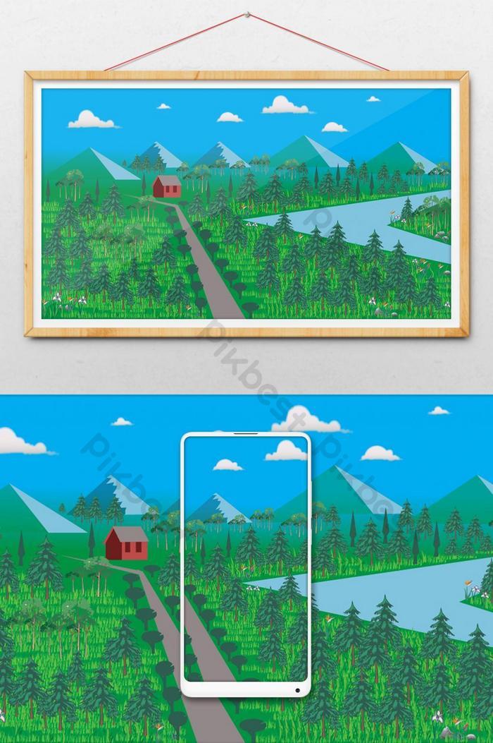 Gambar Pegunungan Kartun : gambar, pegunungan, kartun, Danau, Dengan, Latar, Belakang, Vektor, Kartun, Pegunungan, Ilustrasi, Templat, Unduhan, Gratis, Pikbest