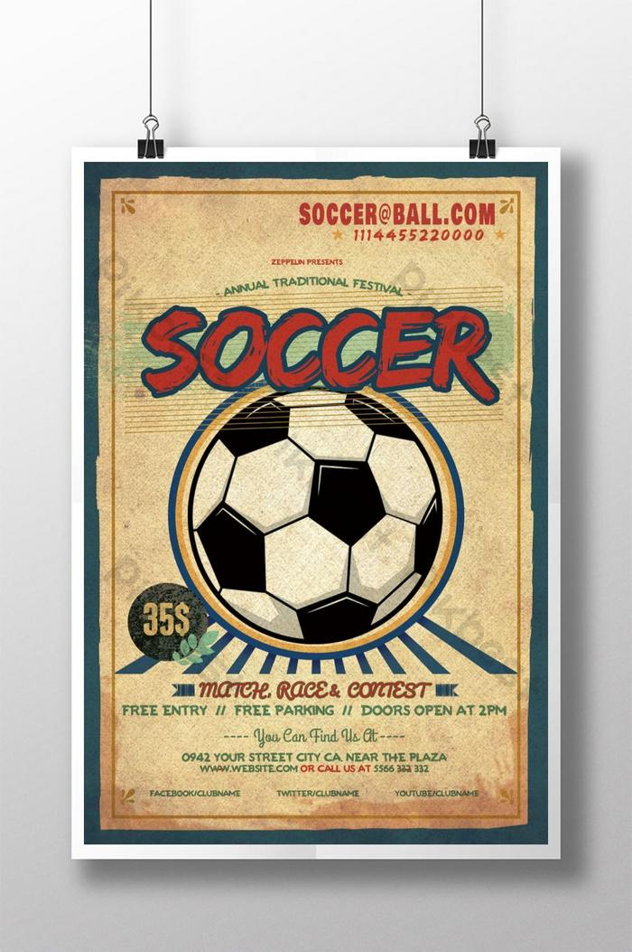 Gambar Tentang Sepak Bola : gambar, tentang, sepak, Football, Retro, Sports, Poster, Design, Download, Pikbest