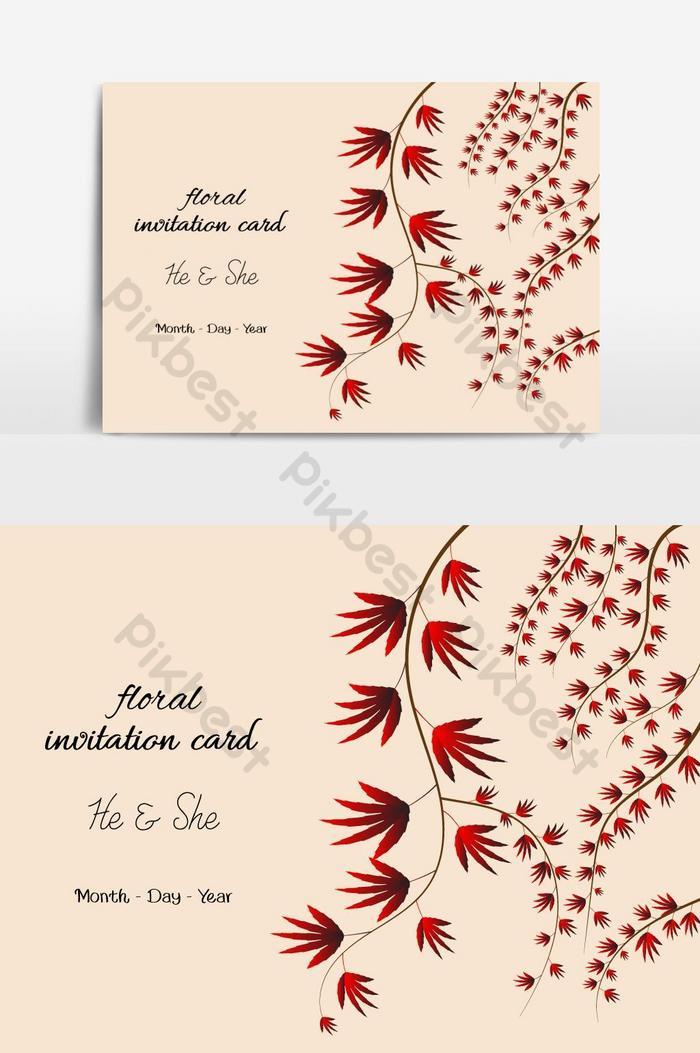 floral invitation card design png