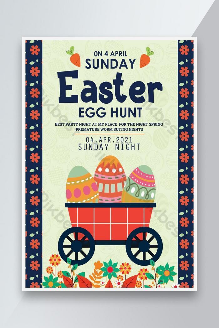 hello easter the egg hunt poster psd