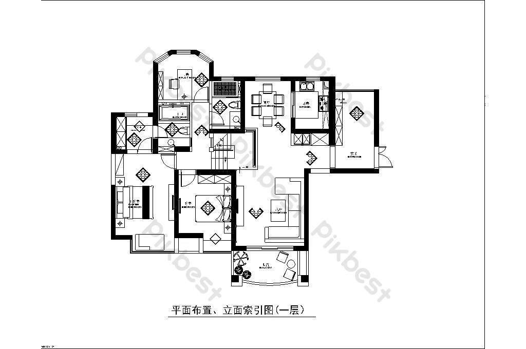 Nordic Style Two Bedroom And One Living Room Layout Plan Decors 3d Models Dwg Free Download Pikbest