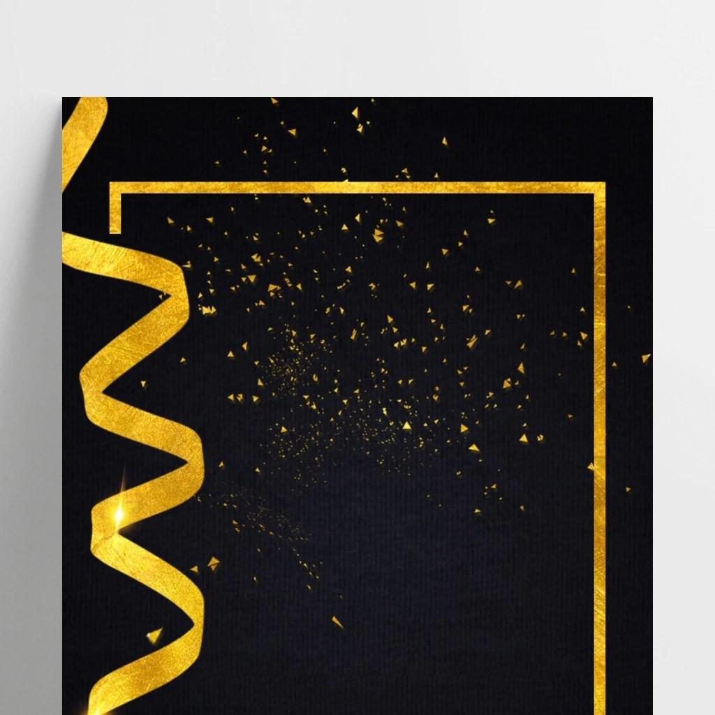 black gold wind creative black poster