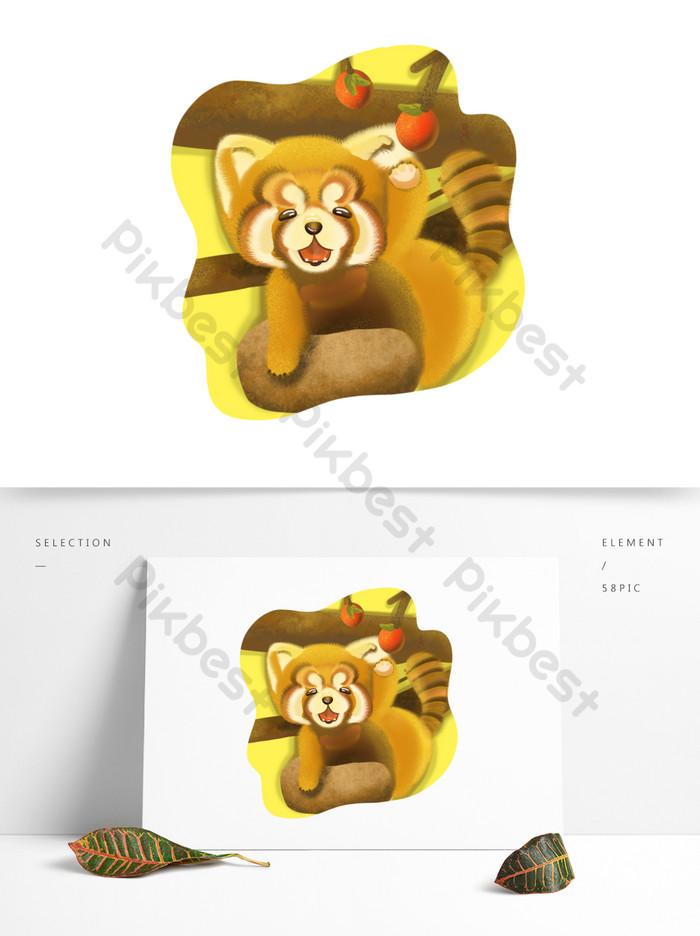 黃色可愛的稀有動物小熊貓野果卡通形象| PSD 元素素材免費下載 - Pikbest