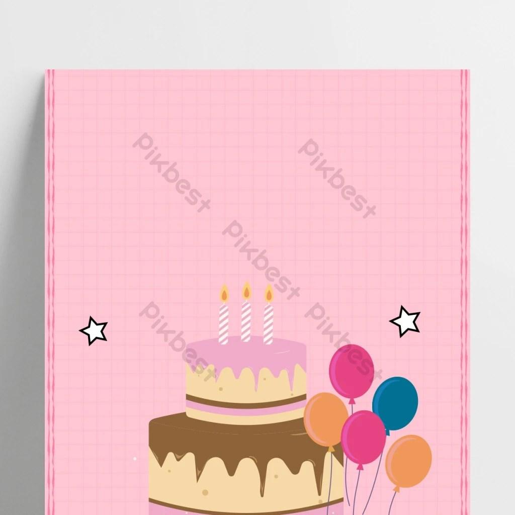 pink birthday invitation cartoon