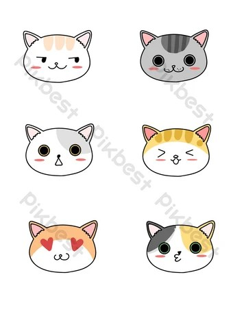 Gambar Kepala Kucing Kartun : gambar, kepala, kucing, kartun, Cartoon, Stick, Figure, Animal, Expression, Element, Images, Download, Pikbest