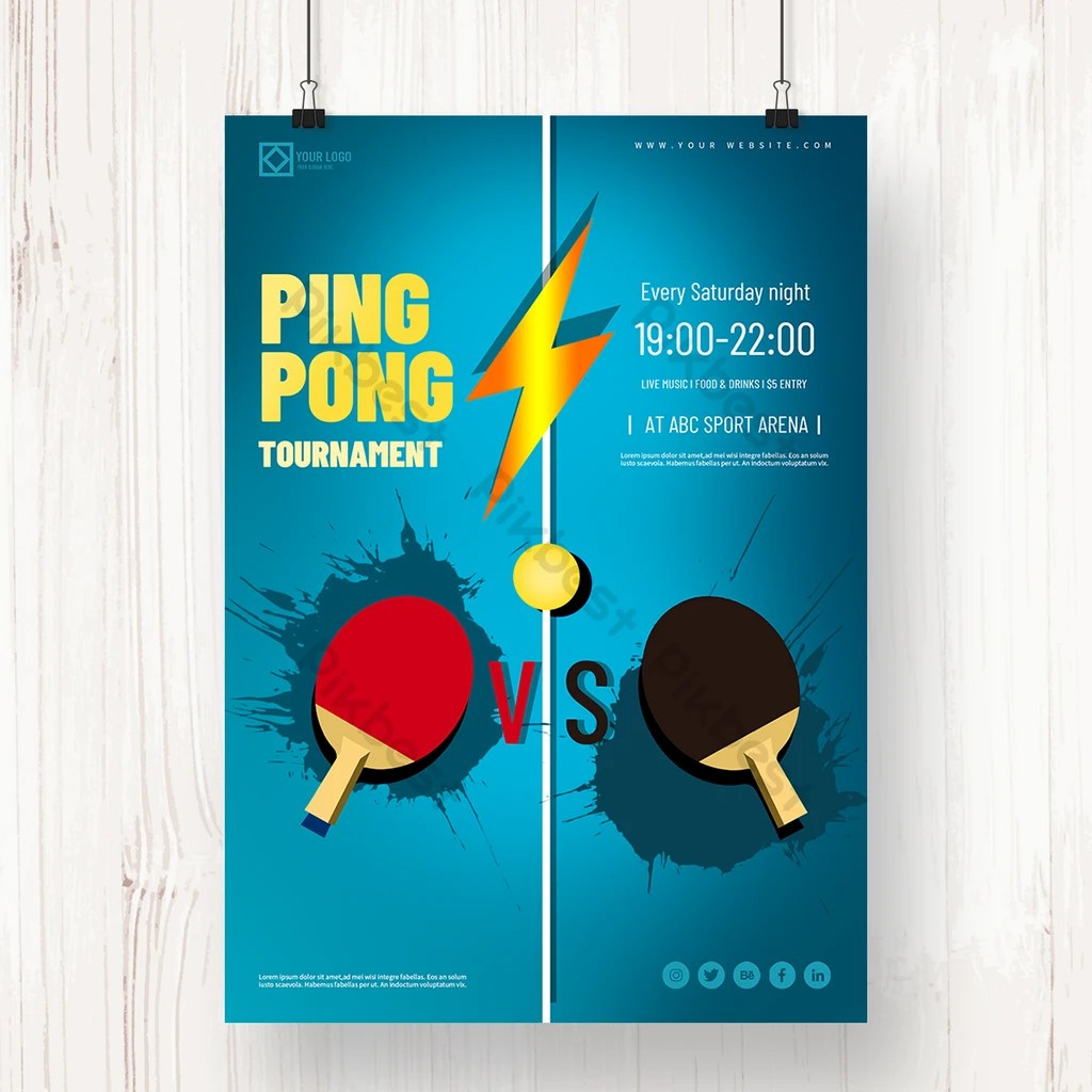blue background ping pong tournament
