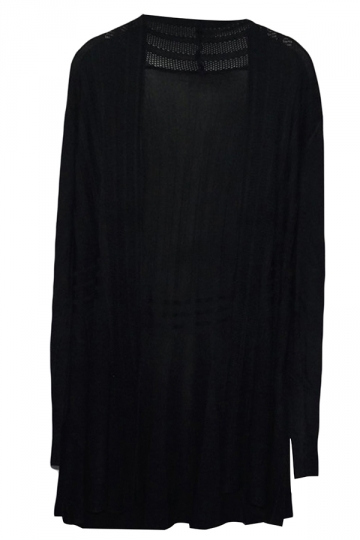 Black Long Sleeve Charming Womens Plain Cardigan Sweater