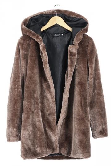 Womens Plain Loose Long Sleeve Hooded Faux Fur Coat Brown  PINK QUEEN
