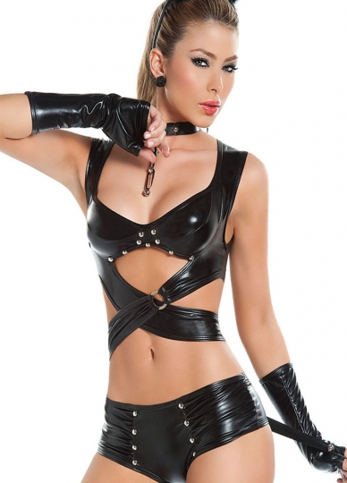 Black Pole Dancing Vinyl Leather Lingerie Sexy Leather