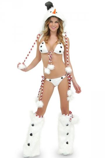 4046 Sexy White Womens Christmas Snowman Lingerie
