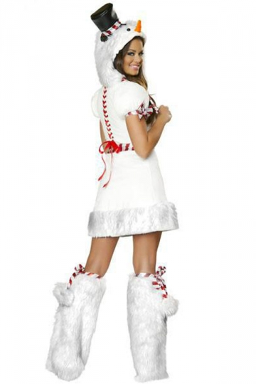4344 Sexy White Snowman Women Christmas Costume For