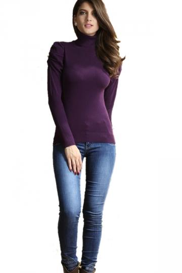 Deluxe Purple Turtleneck Long Sleeve Bottoming Sweater