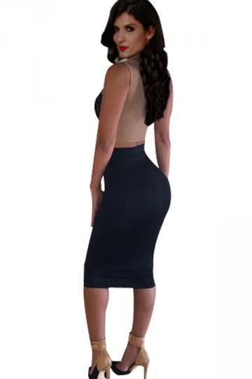 Black Trendy Ladies Lace Sleeveless Tight Midi Skirt Suit