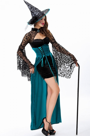 Modern Ladies Goth Halloween Witch Costume PINK QUEEN
