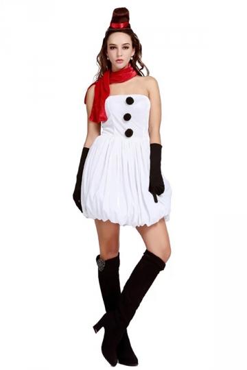 White Cute Womens Christmas Tube Dress Snowman Costume