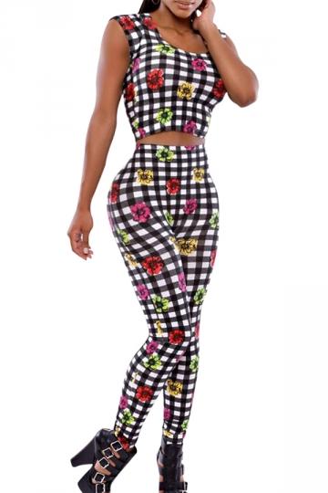 Black Pretty Womens Plaid Floral Printed Crop Top Pants