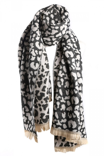 Khaki Trendy Womens Fringe Leopard Animal Print Scarf  PINK QUEEN