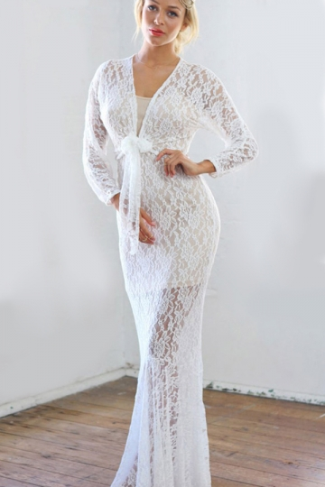 White Womens Vneck Lace Jacquard Long Sleeve See Through