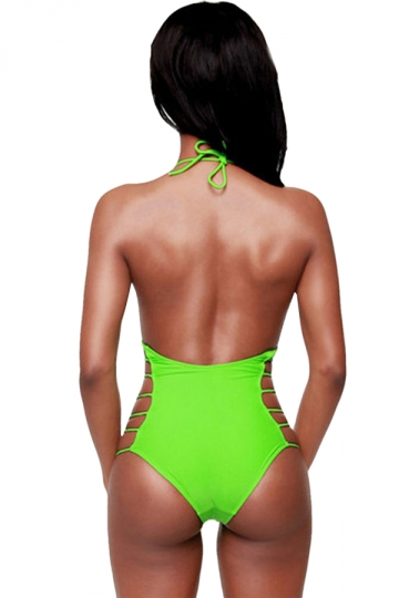 Green Fashion Backless Halter Cut Out Sexy Monokini  PINK