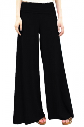 Black Modal High Waisted Womens Palazzo Leisure Pants PINK QUEEN