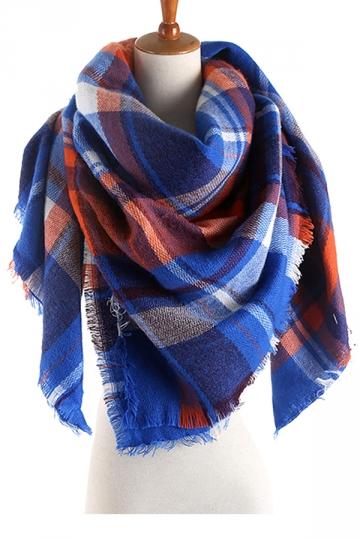 Womens Colorful Plaid Pattern Cashmere Shawl Scarf Blue