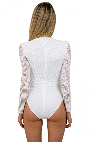Womens Deep V Neck Laceup Long Sleeve Lace Patchwork