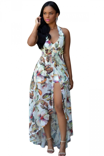Womens Halter Floral Backless Romper With Maxi Overlay Dress White  PINK QUEEN