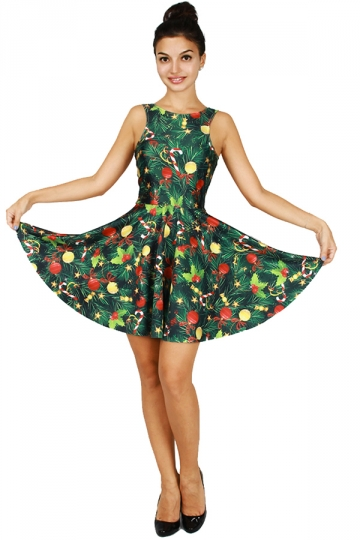 Womens Christmas Candy Tree Printed Sleeveless Skater