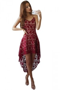 Womens Hollow Out High Low Sleeveless Plain Prom Dress Red ...