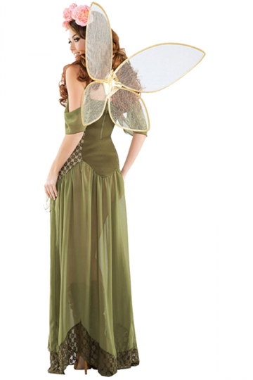 Rose Fairy Princess Costume With Wings  PINK QUEEN