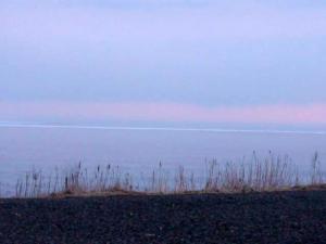 遠くに見える流氷の帯