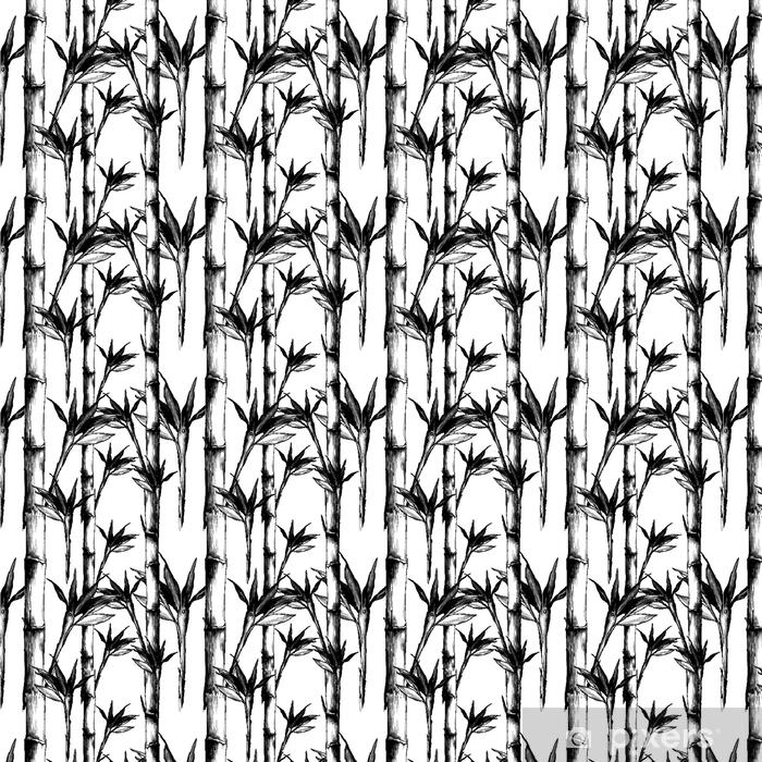 papier peint a motifs feuilles branches tige motif de bambou fleurs texture cadre croquis sans soudure vecteur graphiques dessin noir et blanc