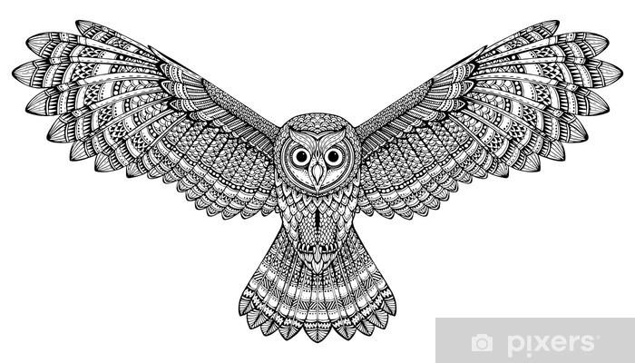 Aufkleber Vector Hand fliegenden Eule gezeichnet SchwarzWeizentangle Kunst  Pixers  Wir
