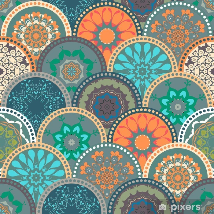 Seamless abstract pattern frame of trendy colored floral