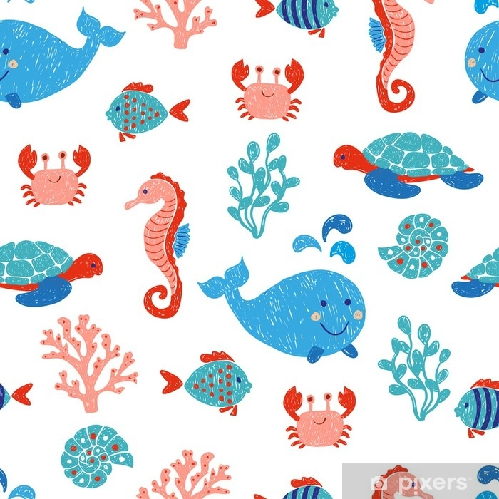 Cute Sea Animals Seamless Pattern In Blue And Pink Colors Vector Background With Children Drawings Of Whale Turtle Sea Horse And Fishes Wall Mural Pixers We Live To Change