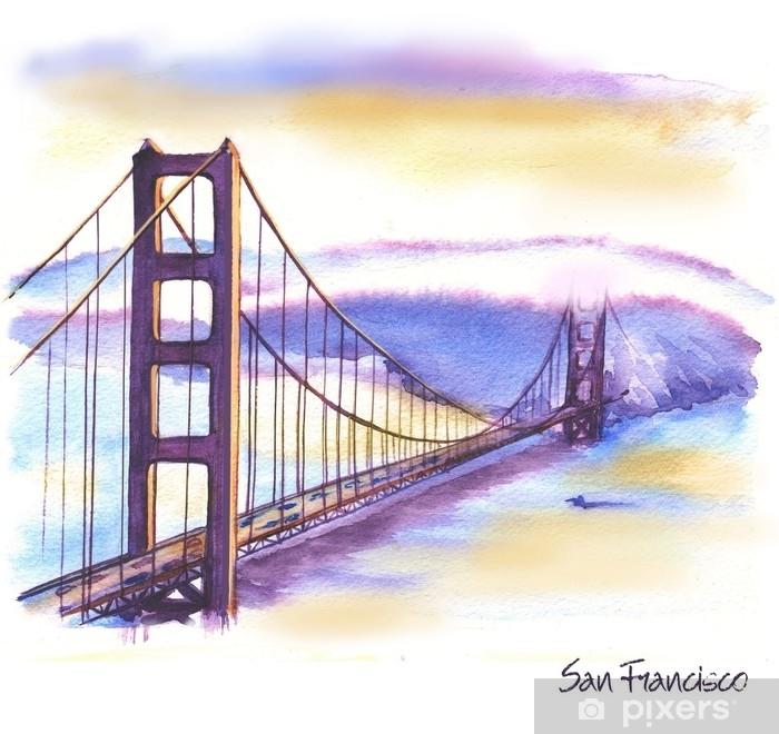 coussin decoratif dessin aquarelle dessines a la main du paysage americain et le celebre batiment illustration du pont des portes dorees pixers nous vivons pour changer