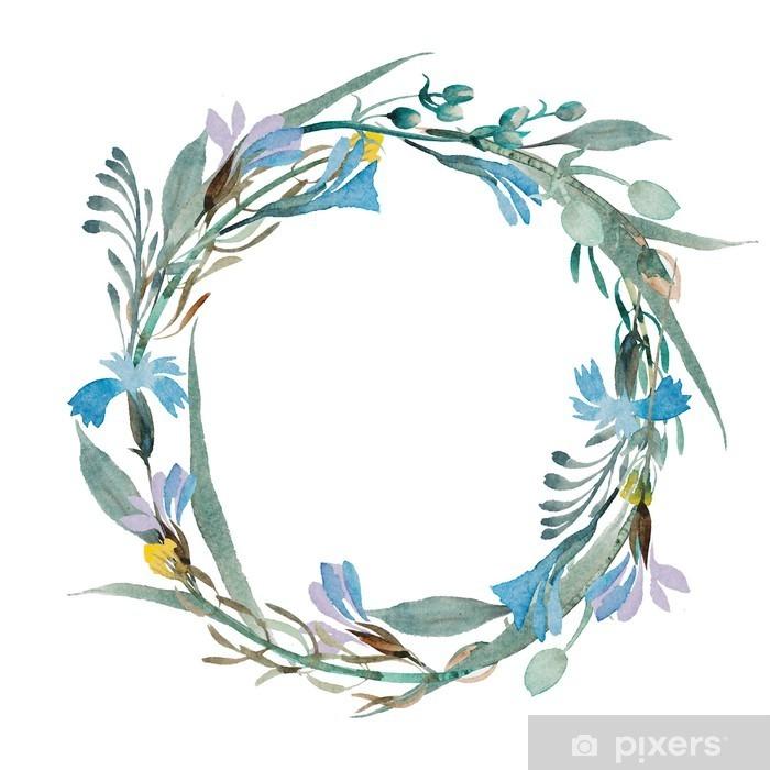 Aufkleber Romantische Kranz aus blauen Blumen in Aquarell