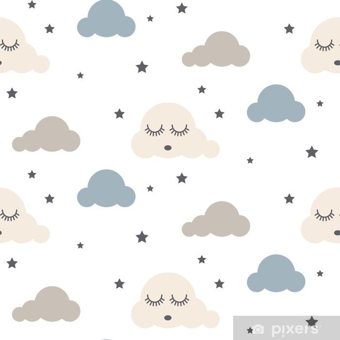 rideau occultant modele de vecteur sans couture enfants nuages endormis fond gris bleu et blanc tissu textile mignon de style de bebe ornement scandinave de dessin anime pixers nous vivons