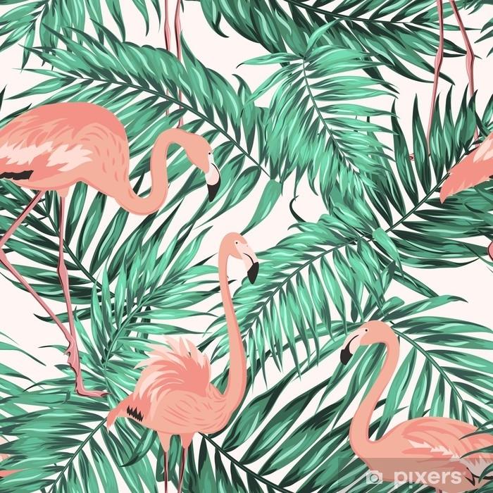 rideau occultant feuilles de palmier jungle tropicale vert turquoise flamants roses exotiques flamants roses texture transparente motif sur fond blanc pixers nous vivons pour changer