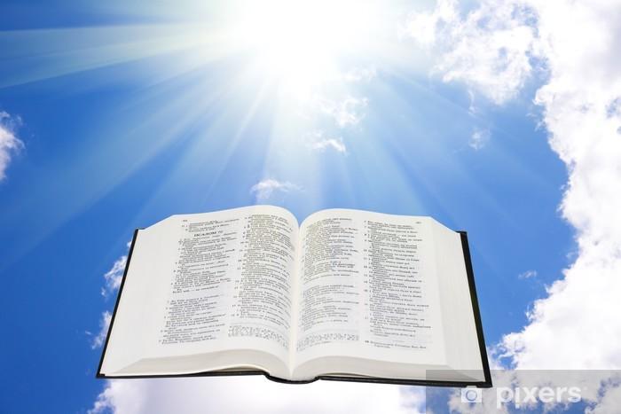 Vinilo Pixerstick Santa Biblia en el cielo iluminado por