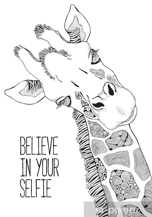 Coloring Book page for Adult and children. Giraffe Wall