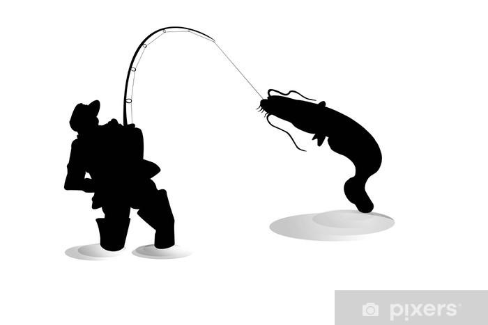 Fototapete Silhouette der Fischer mit Wels  Pixers  Wir