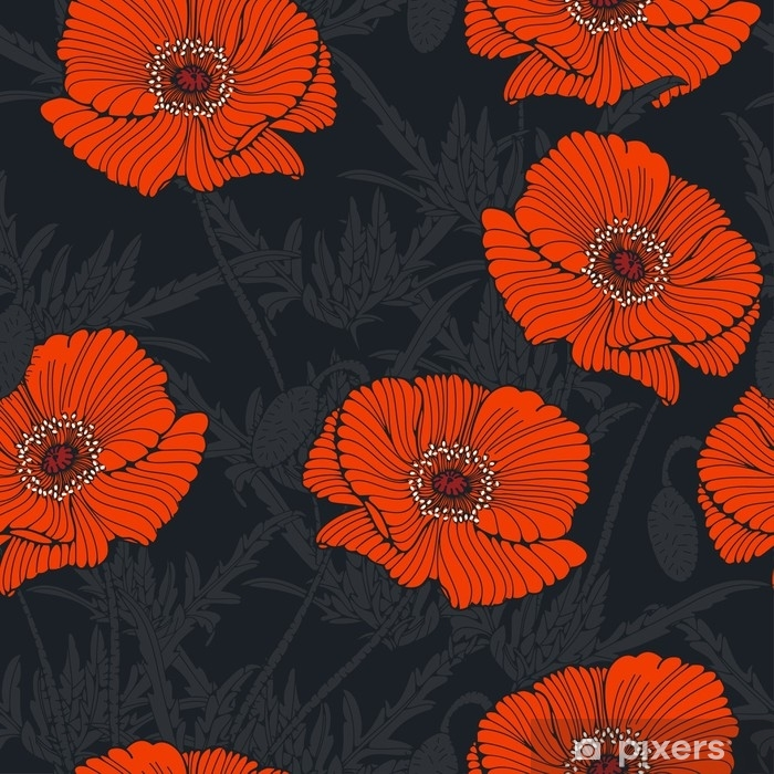 rideau occultant carrelage sans couture avec coquelicot sauvage graphique en gris nuit et orange pixers nous vivons pour changer