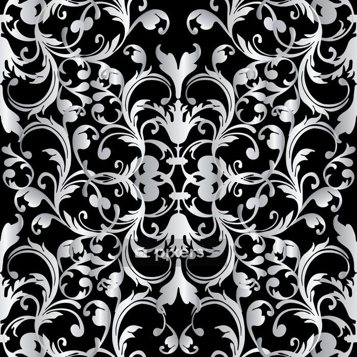 housse de couette modele sans couture baroque floral fond noir damasse fond d ecran avec des fleurs 3d blanches vintage des feuilles de defilement et des ornements baroques antiques dans style victorien