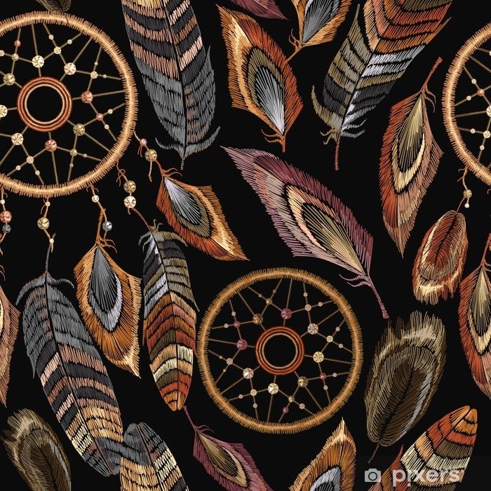tapis de bain modele sans couture de broderie dreamcatcher boho talisman indien amerindien dreamcatcher vetements style ethnique vetements de conception de modele a la mode motif de plumes tribales magiques conception de