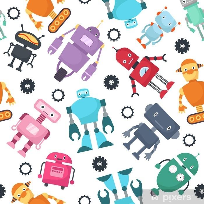 rideau occultant robots mignons enfants futuristes vector modele sans couture pixers nous vivons pour changer
