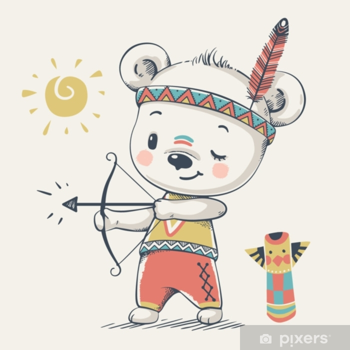 cute bear indian with