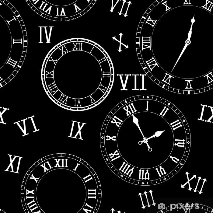 poster vieux elements d horloge vintage avec des chiffres romains sur fond noir pixers nous vivons pour changer