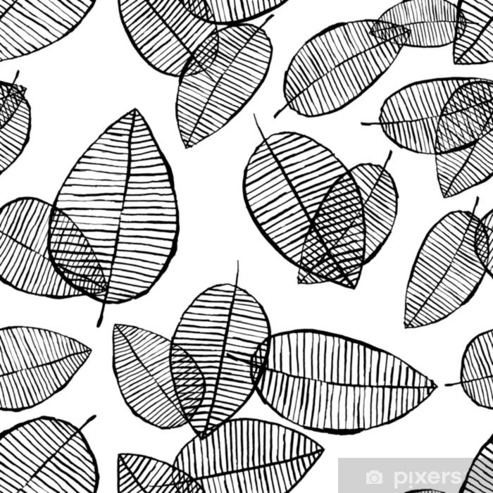 papier peint vecteur contour sans soudure laisse motif fond noir et blanc fait avec aquarelle encre et marqueur concept design scandinave tendance